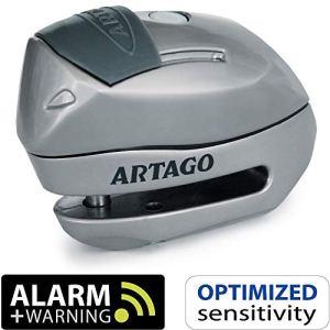 Artago 24S.6M Antivol Bloque-Disque, Warning Pre-Alarme 120 DB, Fermature ø6 mm, Universel Moto, Scooter, Velo