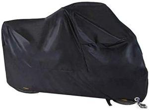 Housse de moto, Étanche Tissu 190T Oxford de housse de protection pour moto avec des trous de serrure anti-poussière de moto pour Harley-Davidson, Honda, Suzuki (245 * 105 * 125 cm)