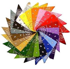 Lot de 12 écharpes bandana 100% coton de qualité cachemire couleurs mélangées pour motards et animaux de compagnie