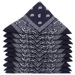 Lot de 5 bandanas 100% Coton paisley foulard fichu 12 couleurs au choix (Lot de 5 identiques, Bleu Marine)