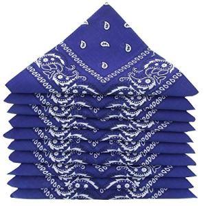 Lot de 5 bandanas 100% Coton paisley foulard fichu 12 couleurs au choix (Lot de 5 identiques, Bleu Roy)