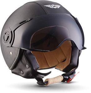 MOTO H44 Leather Black · Scooter Demi-Jet Pilot Chopper Vespa Mofa Helmet Biker Cruiser Casque Jet Moto Bobber Retro Vintage · ECE certifiés · y compris le pare-soleil · y compris le sac de casque · Gris · M (57-58cm)