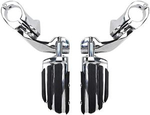 Moto Repose-pieds pédales, Rebacker Highway Pegs Pied de fixation courte Angled Pegs, Pied Pegs Rest Pédale, Fit for Harley Electra Road King Street Glide 1 1/4″ 32mm Bars moteur Garde