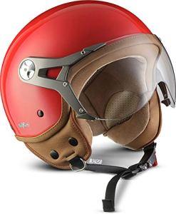 SOXON SP-325-MONO Red · Chopper Moto Scooter Biker Vintage Pilot Retro Bobber Helmet Vespa Demi-Jet Mofa Cruiser Casque Jet · ECE certifiés · visière inclus · y compris le sac de casque · Rouge · L (59-60cm)