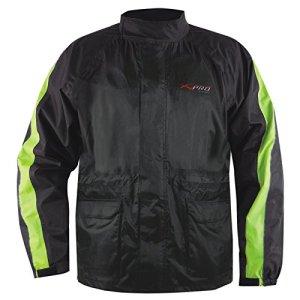 Veste Pluie Nylon 100% Etanche Capuche Reflechissant Moto Motard Sport Fluo 3XL