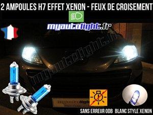 Pack ampoules H7 blanc xenon feux croisement-code pour PEUGEOT 207