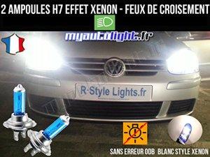 Pack ampoules H7 blanc xenon feux croisement-code pour Volkswagen Golf 5