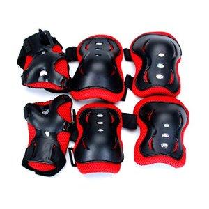 WINOMO 6pcs Bébé Cyclisme Coude Coude Crochets Protéger Cap de Protection (Noir + Rouge)