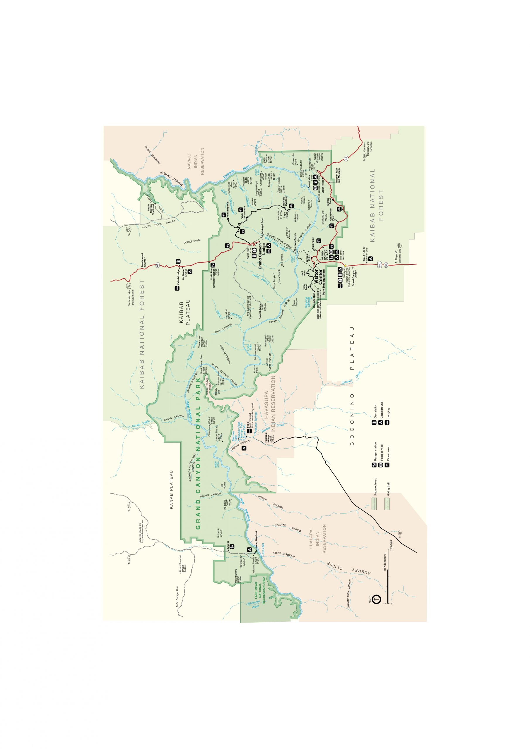 mapa národného parku Grand Canyon