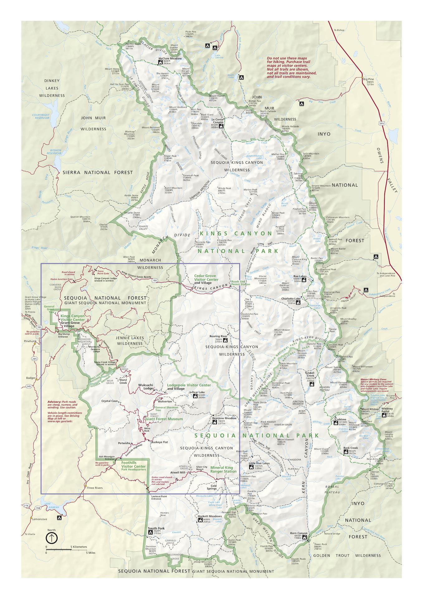 Mapa národného parku Sequoia