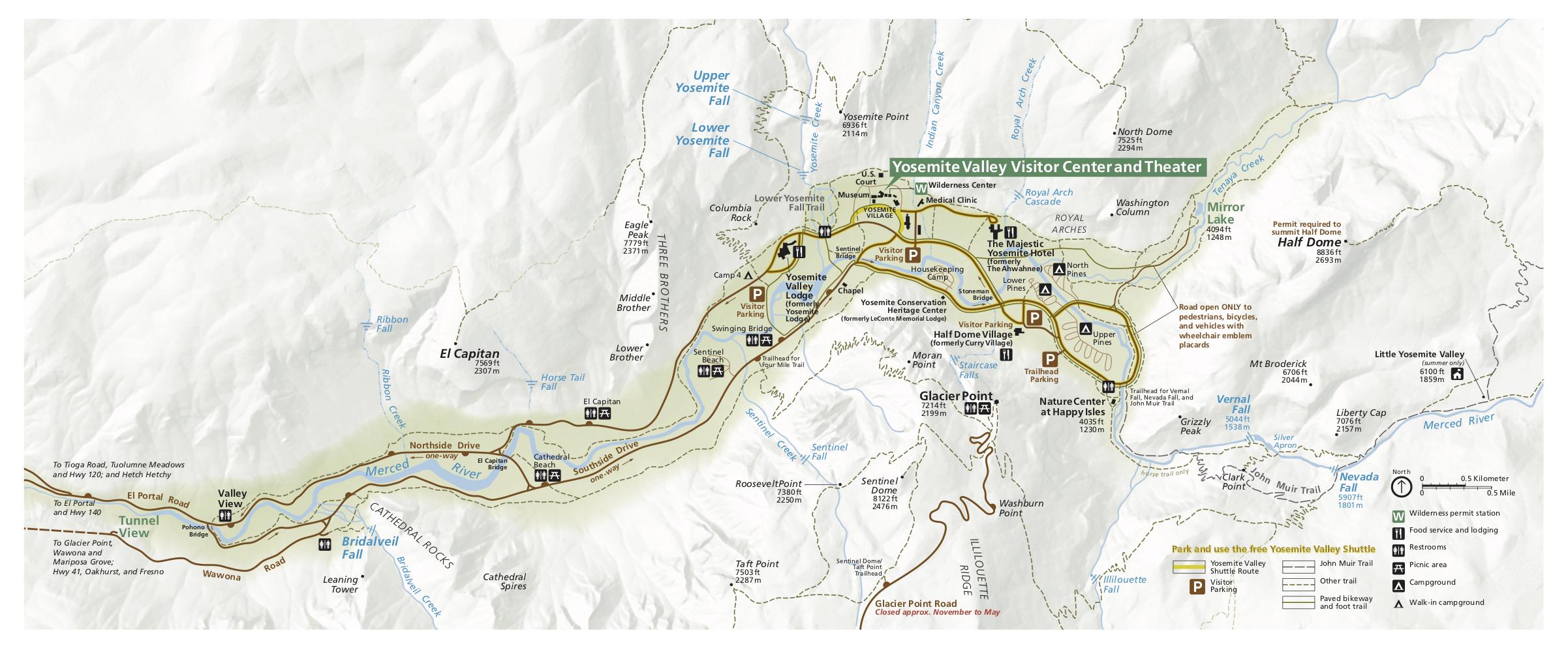 Mapa národného parku Yosemite