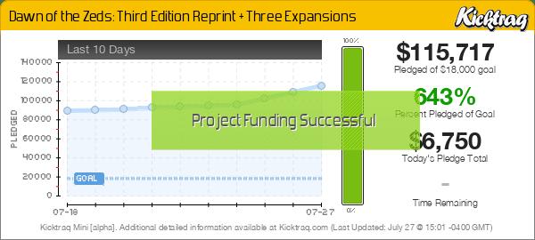 Dawn of the Zeds: Third Edition Reprint + Three Expansions -- Kicktraq Mini
