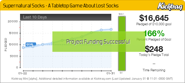 Supernatural Socks - A Tabletop Game About Lost Socks -- Kicktraq Mini