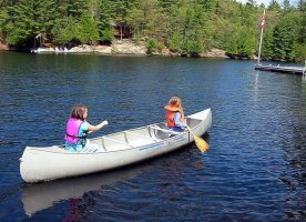 Toddlers will love caneoing on holiday in Canada