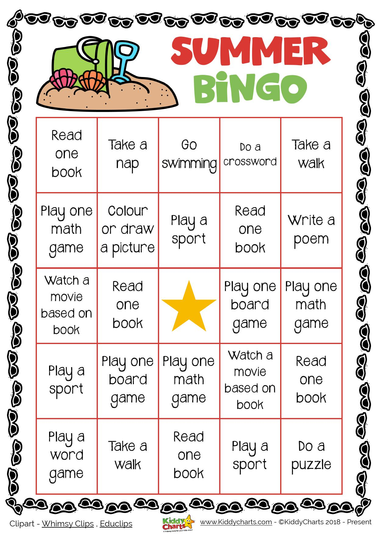Day 1 Summer Bingo Printable Game Kiddychartssummer