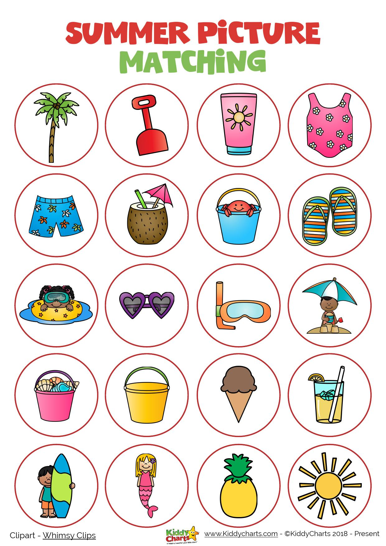 Day 3 Summer Matching Picture Printable Activity