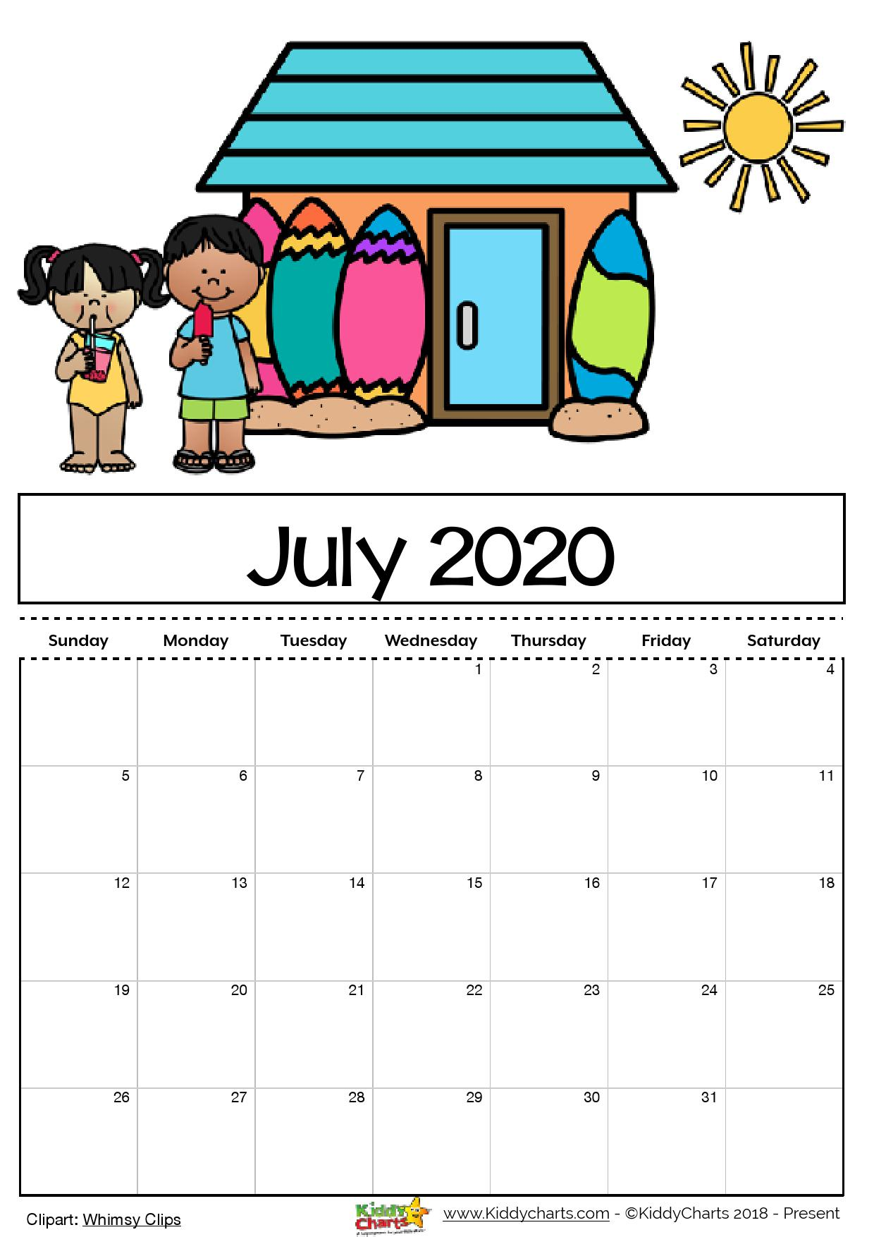 Free Printable Calendar For Kids Including An