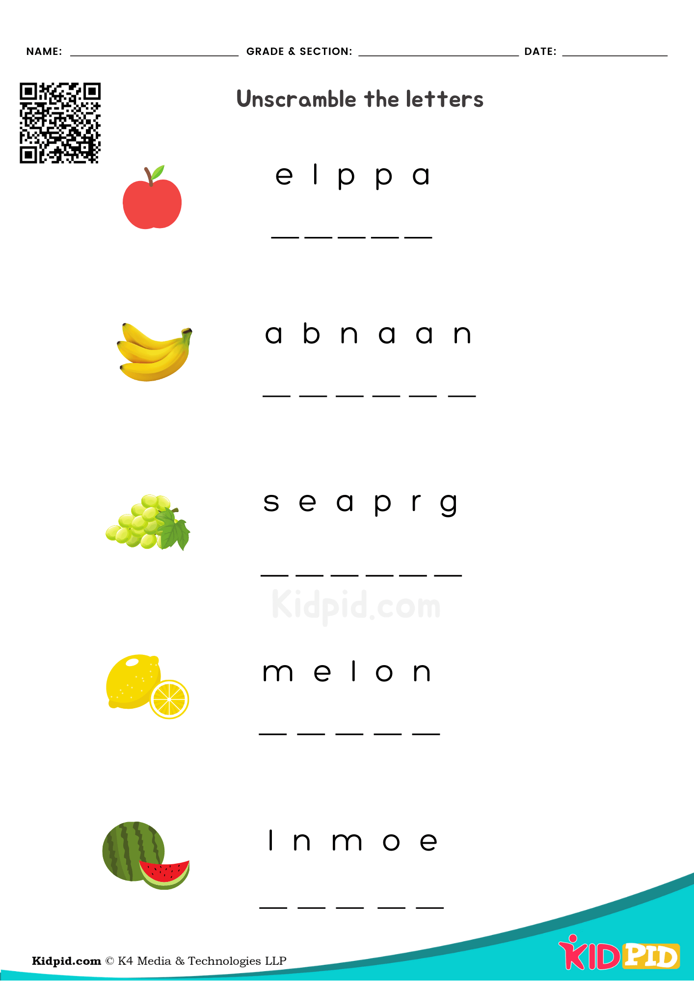 Fruit Name Printable Worksheet For Kindergarten