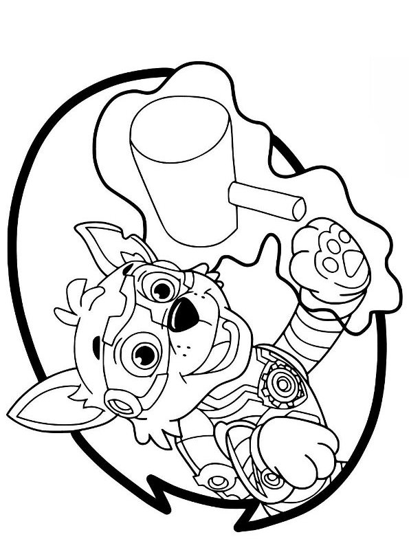 kidsnfun  coloring page paw patrol mighty pups rocky