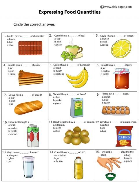 Food Quantities worksheet