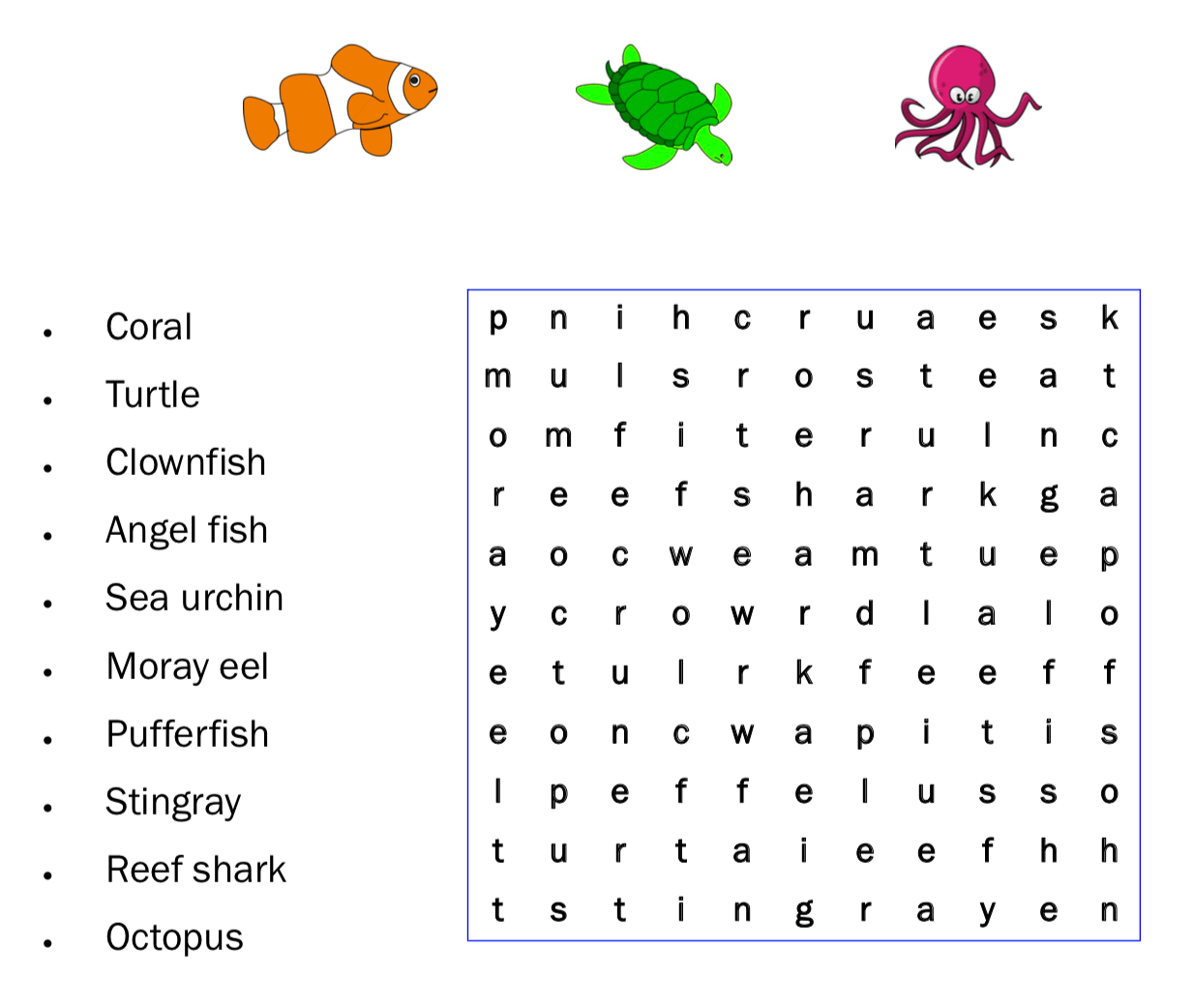 Coral Reef Wordsearch