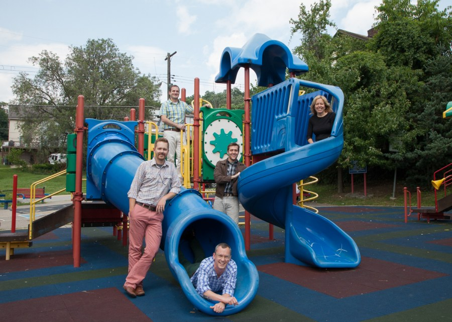 The Sprout Fund is at the center of much of Kids+Creativity's work. Left to right: Dustin Stiver, Matt Hannigan, Mac Howison, Ryan Coon and Cathy Lewis Long. Photo by Peter Leeman.