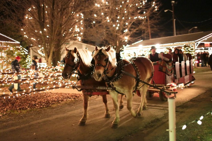 Horse drawn wagon ride at Overly's Country Christmas, Photo courtesy of Overly's