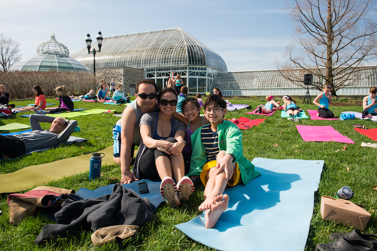 Let's Move Pittsburgh's Family Yoga, Photo courtesy of Phipps Conservatory