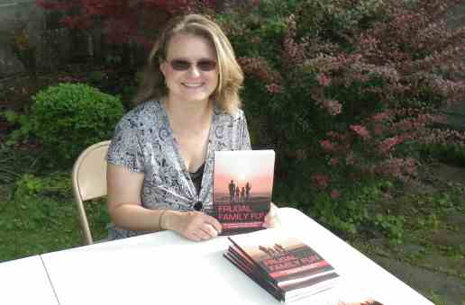 Amanda Mawhinney at a book signing for Frugal Family Fun