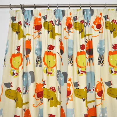 Jungle animal curtain material for Cheap childrens curtain fabric