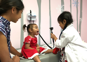 Girls getting a checkup