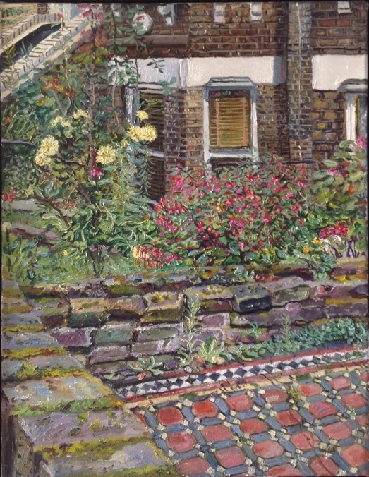 Tiled path and summer flowers