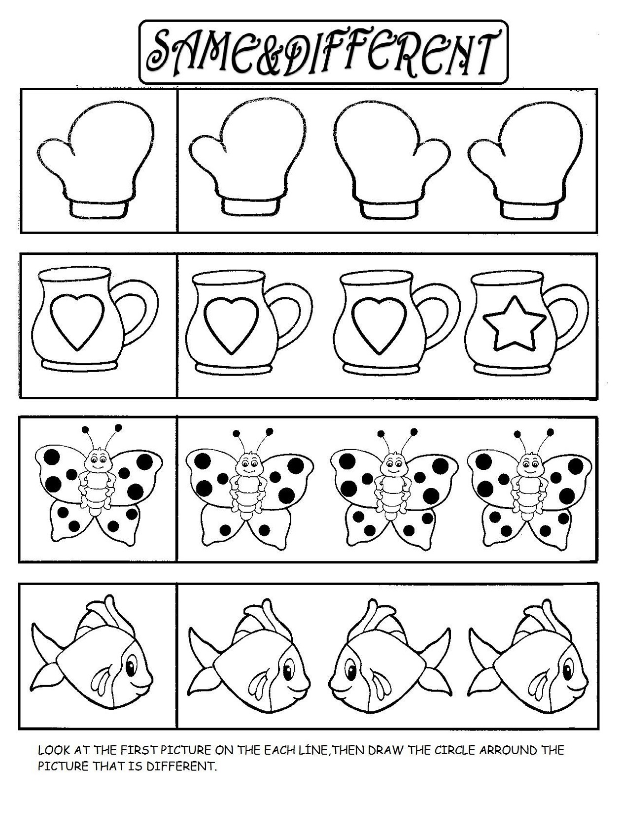 Same Or Different Worksheets For Preschool Kids Learning