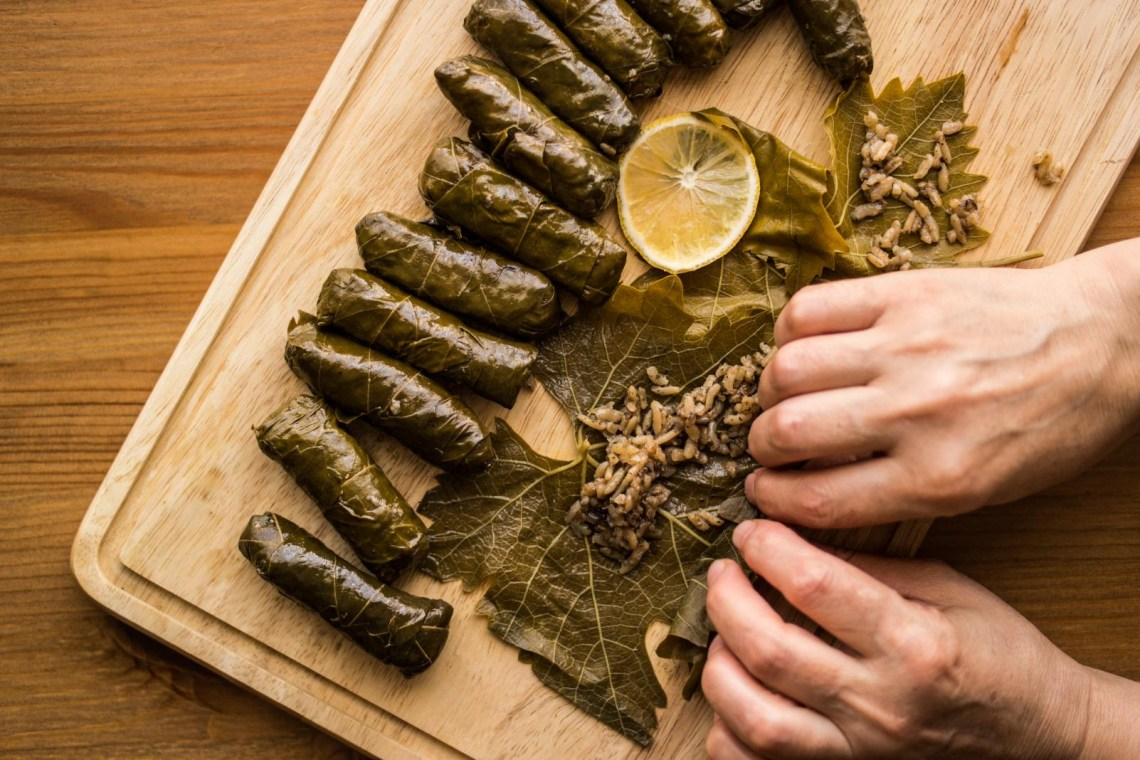 preparing dolmades greek vegan food