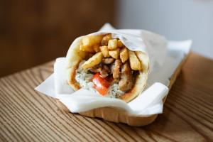 pita bread with gyros greek snack