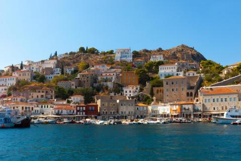 Hydra harbour and houses