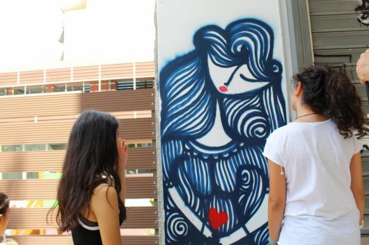 Street art tour kids look a grafiti