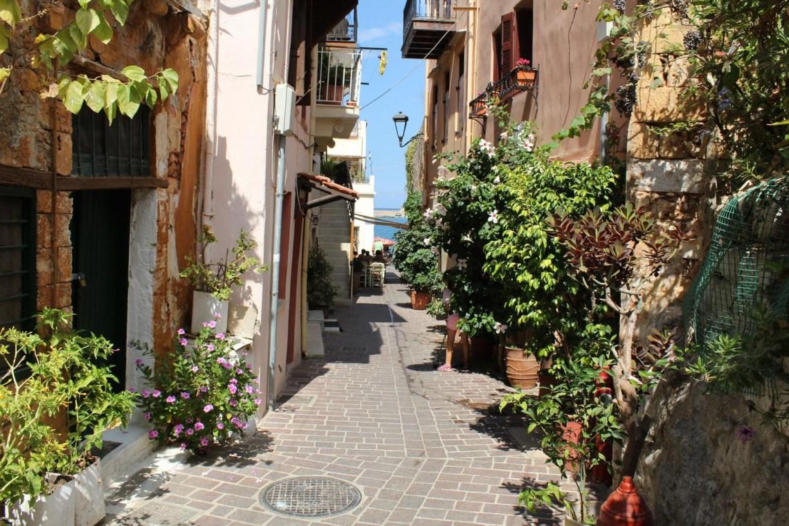 Chania narrow street old town KidsLoveGreece.com