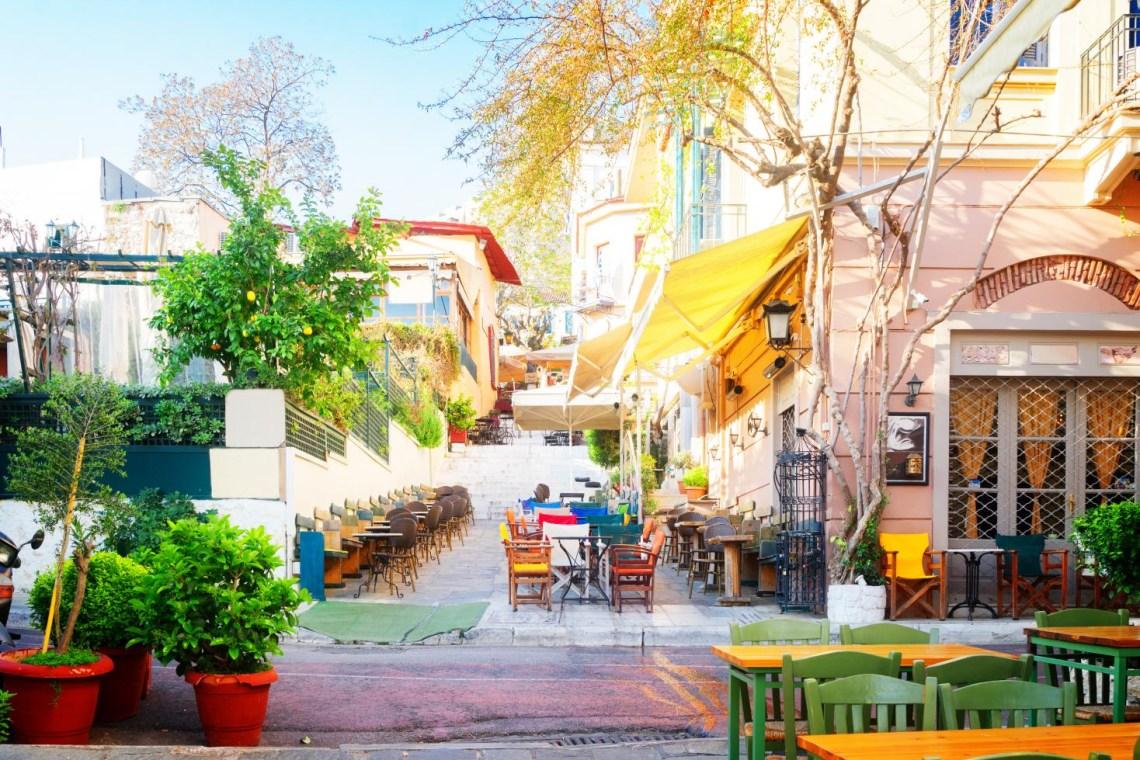 Plaka narrow street cafes