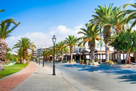 Rethymno street with palm trees