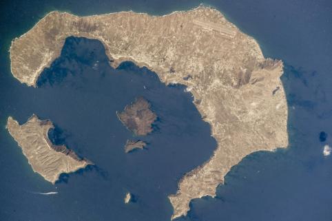 Santorini island satellite view
