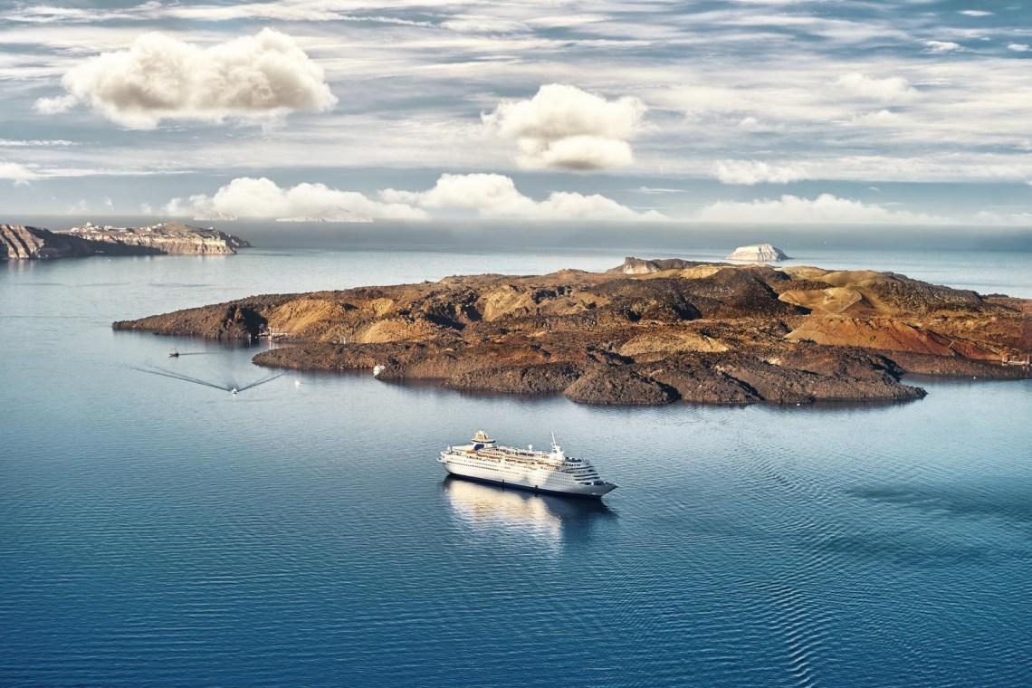 Santrorini volcano and ferry boat