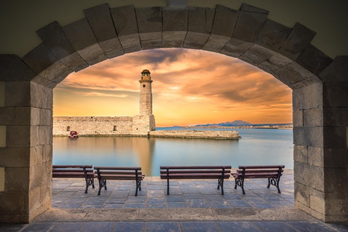 Venetian port of Rethymno and egyptian lighthouse