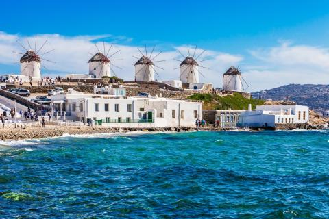 Mykonos sea and windmills