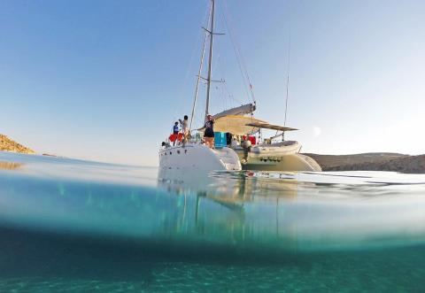 Mykonos catamaran sailing for families