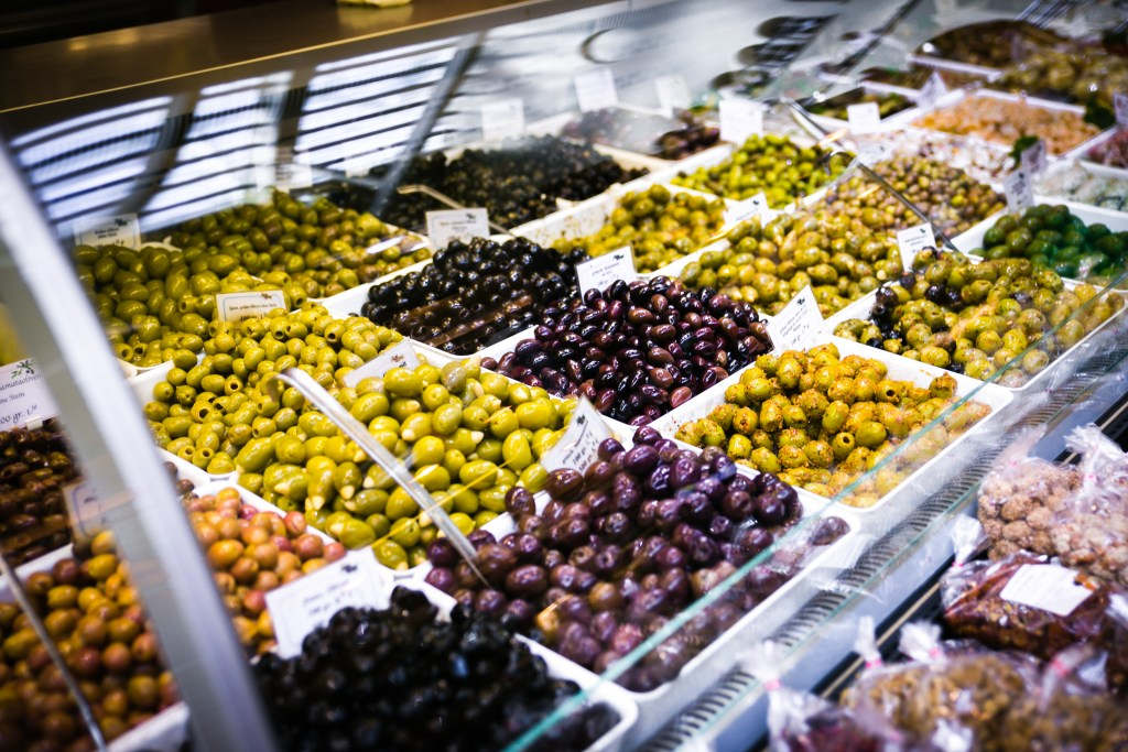 olives display in greek market