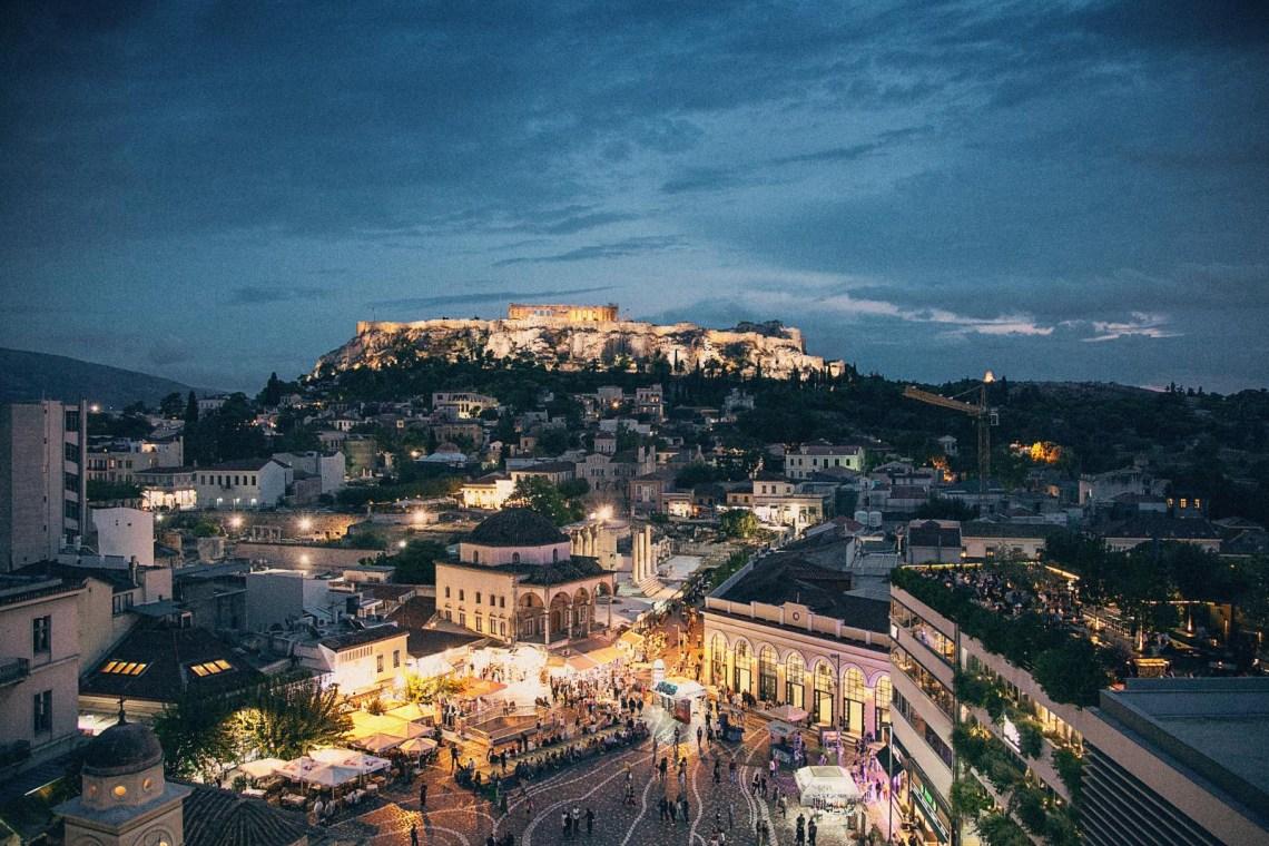 Athens and Monastiraki aerial view at night