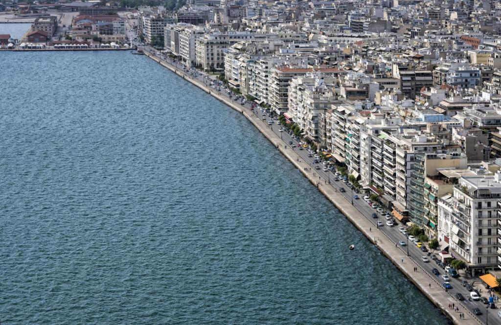 aerial view port of Thessaloniki
