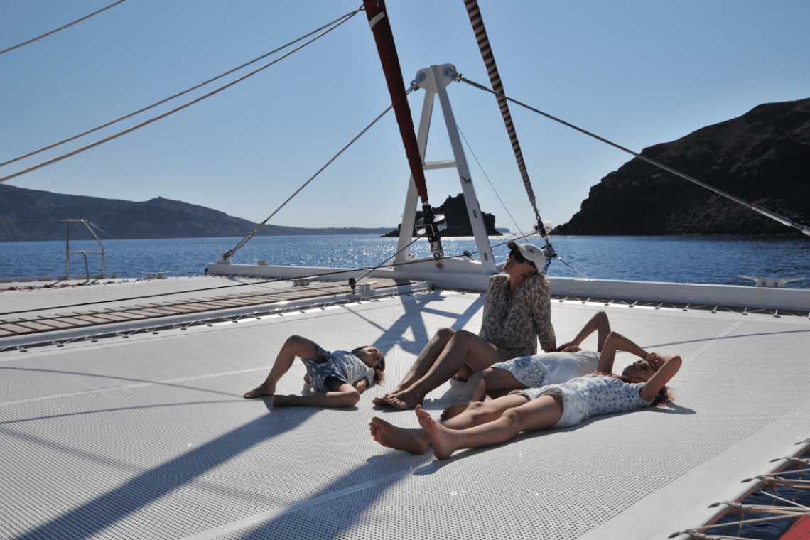Santorini family sailing day tour kids love greece barbeque on board Ammoudi