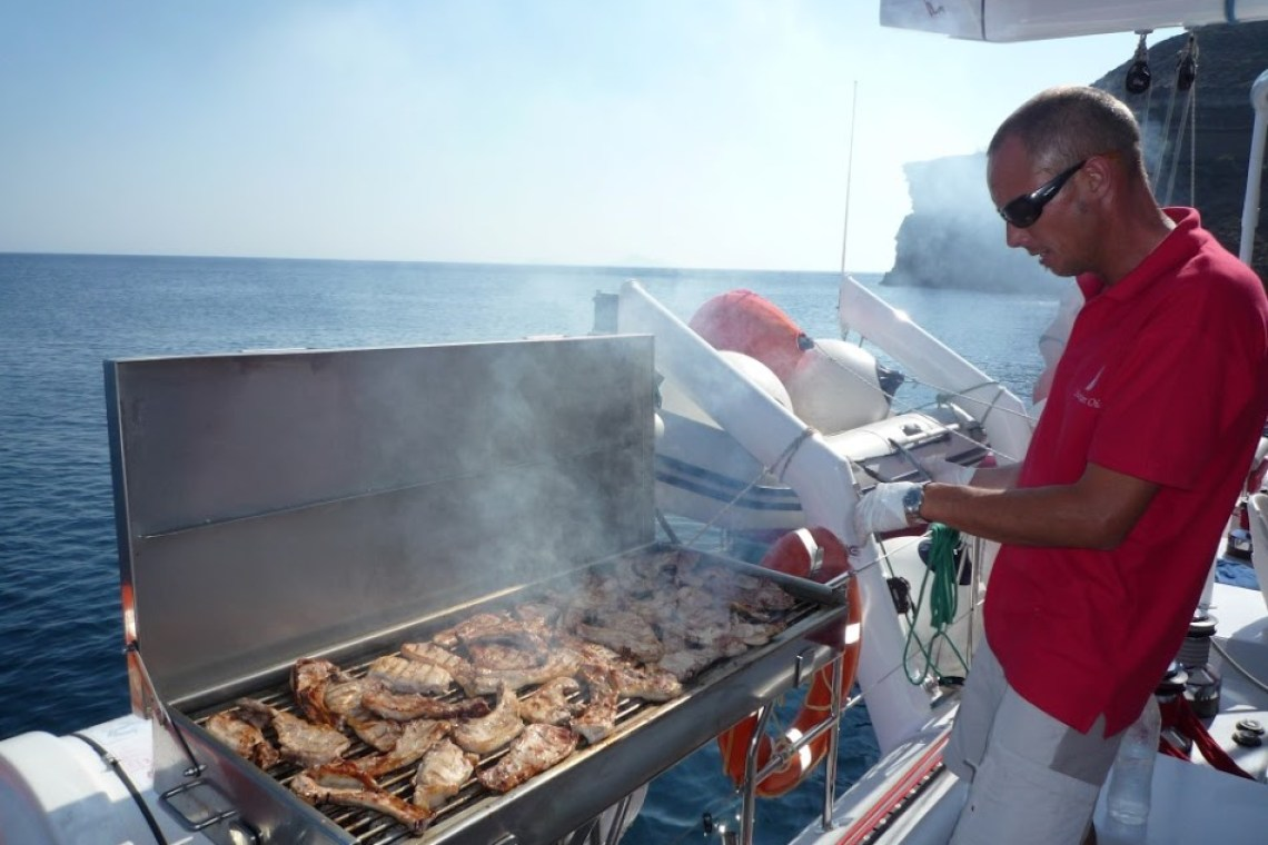 Santorini Ammoudi kids love greece barbeque on board family sailing day tour